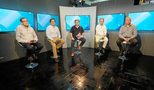 Pere Ribas, Javier Marí, Vicent Torres, Josep Marí Ribas y Josep Antoni Prats, ayer, en el debate celebrado en la TEF.