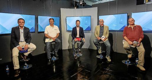 Marí Bosó, Villalonga, Ruiz, Ribas y Morrás, ayer, en el debate de la TEF.
