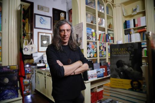 Gerard Quintana durante la presentación de su novela 'Entre el cel i la terra' en Palma el pasado mes de marzo.
