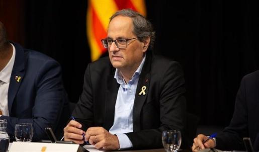 El presidente de la Generalitat de Catalunya, Quim Torra, durante la constitución del plenario para el Pacto Nacional por la Movilidad Segura y Sostenible.