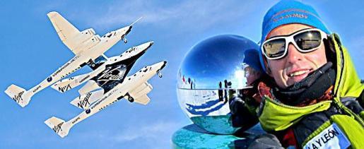 Calleja y el cohete diseñado para los vuelos suborbitales.