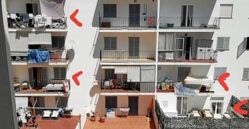 Los balcones cambian sospechosamente de habitantes cada pocos días y probablemente alojen a turistas o trabajadores de temporada, según se denuncia.