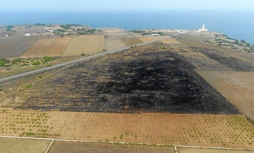 Vista aérea de las tres hectáreas calcinadas por el fuego.