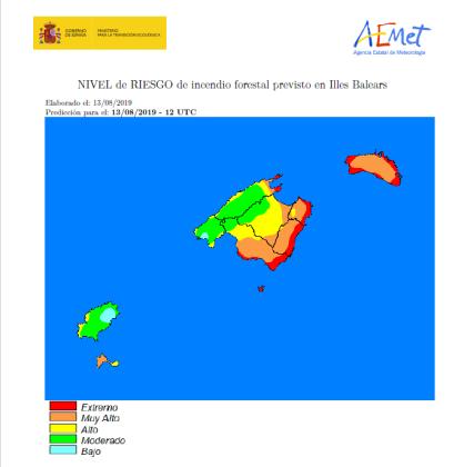 Mapa del riesgo de incendio en Baleares.