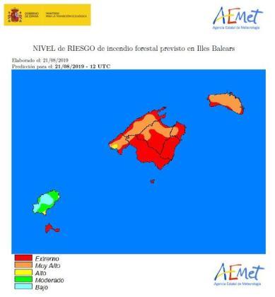 En algunas zonas de Ibiza también se ha activado el aviso por riesgo alto de incendio