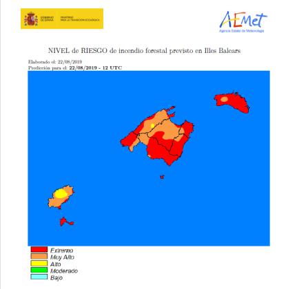 Mapa del riesgo de incendios en Baleares.