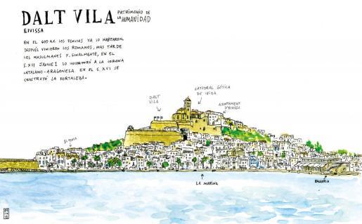 La ilustración de Dalt Vila junto a una calle de la ciudad antigua.