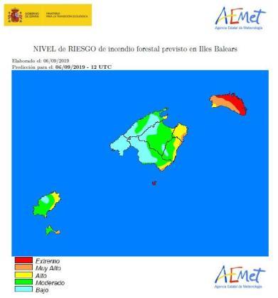 Mapa del riesgo de incendios en las Islas Baleares.