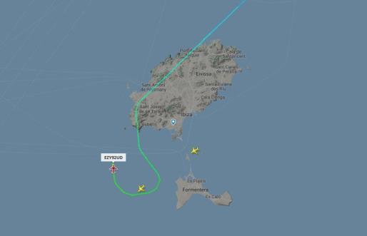 Tráfico aéreo hoy a las 09.15 horas sobre las slas de Ibiza y Formentera.