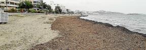 Vecinos y empresarios de Platja d'en Bossa acusan a Vila de no limpiar su parte de playa