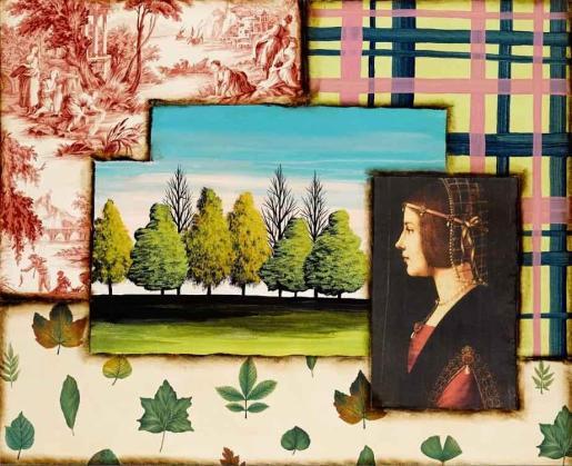 Detalle de una pintura del artista Pep Guerrero, en la que los árboles forman parte de la obra.