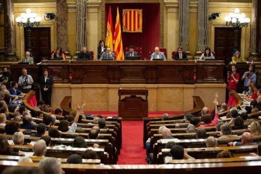 Vista del hemiciclo del Parlament de Catalunya, durante la celebración de un debate de política general.