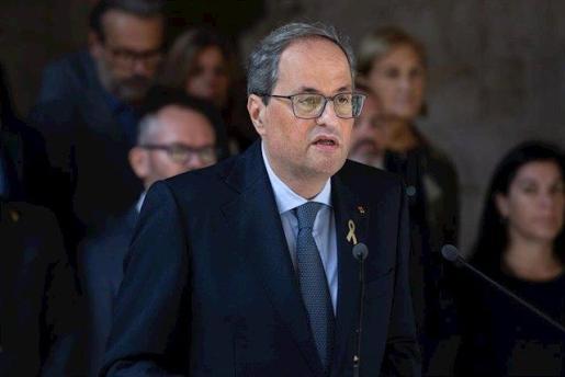 El president de la Generalitat de Catalunya, Quim Torra, hace una declaración institucional tras conocerse la sentencia del Tribunal Supremo (TS) sobre el proceso independentista catalán del 1-O, en el Palau de la Generalitat, Barcelona.