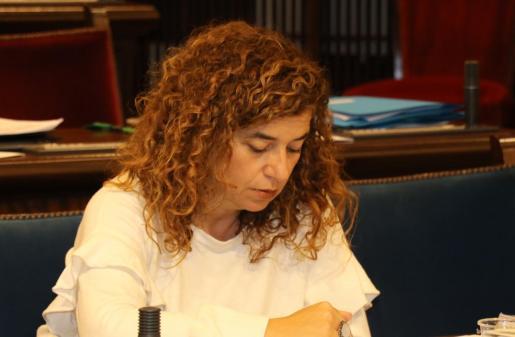 La portavoz del Govern, Pilar Costa, en su escaño en el Parlament.