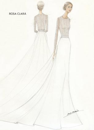 Este es el boceto del vestido de la novia.