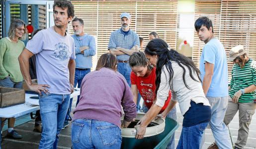 Los alumnos junto a Guillermo Rodríguez barroso preparando la tierra para plantar las semillas.