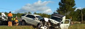 Cuatro heridos en dos colisiones frontales en una mañana accidentada en Santa Eulària
