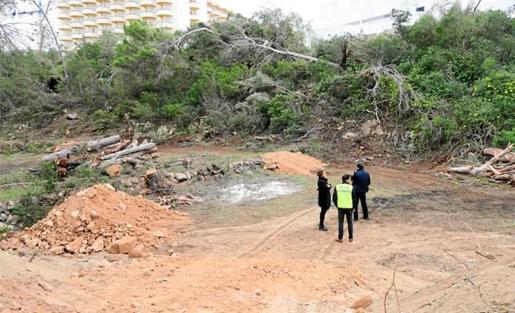 Visita de la concejala de Medio Ambiente a los trabajos de limpieza del torrente de Cala Gració.