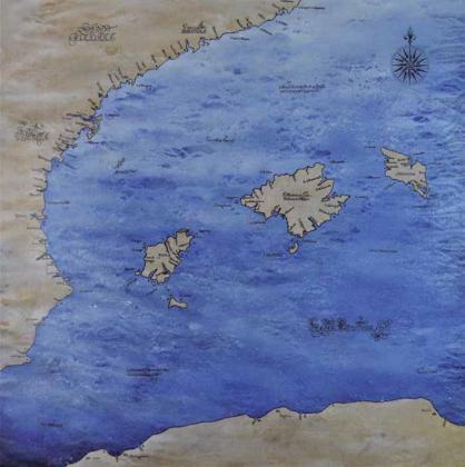 Pintura de un mapa ficticio de las Islas Baleares y Comunidad Valenciana.