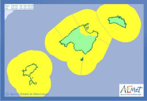 Aviso amarillo por riesgo de tormentas en las Islas Baleares.
