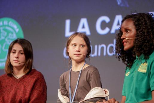 Rueda de prensa de la activista sueca Greta Thunberg junto a otros activistas de Fridays for Future en la Casa Encendida de Madrid previa a la manifestación por el clima que marchará por la capital a 6 de diciembre de 2019.