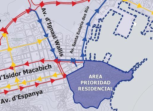 Detalle de la dirección de las principales calles de Vila en el borrador del PMUS.