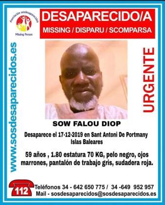 Cartel con los datos y la fotografía difundido por SOS Desaparecidos.