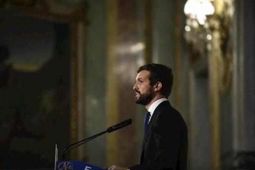 El presidente del Partido Popular, Pablo Casado, durante su intervención en un desayuno de Nueva Economía Fórum, en Madrid (España), a 18 de diciembre de 2019.