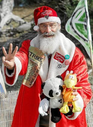 Sustaina Claus, durante su visita a ses Salines.