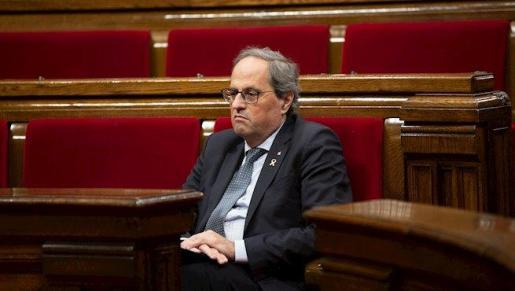 El presidente de la Generalitat de Catalunya, Quim Torra, durante una sesión plenaria en el Parlament de Catalunya, en Barcelona (España), a 11 de diciembre de 2019. -