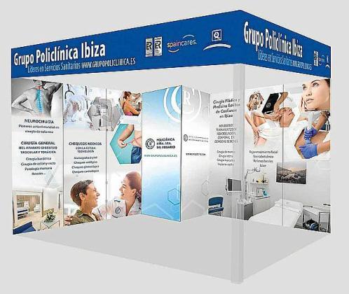 Imagen del estand que tendrá Grupo Policlínica en Fitur Salud.