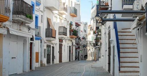 Las calles en este barrio mítico de Eivissa están absolutamente desiertas durante el invierno