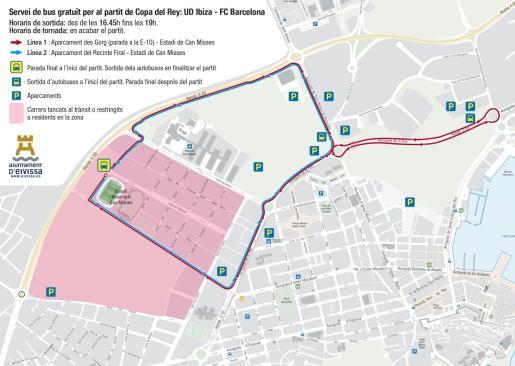 Plano de los autobuses para ir al estadio.