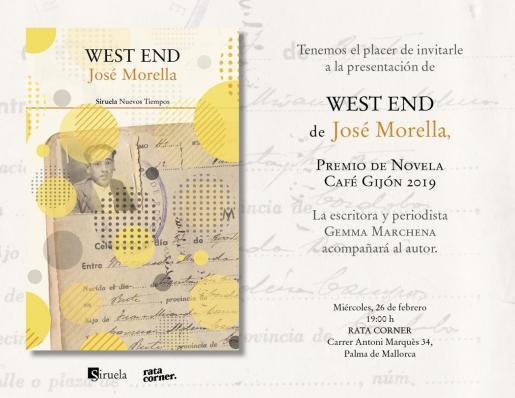 El libro 'West end' de José Morella se presenta en Rata Corner.