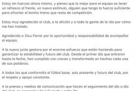 La carta de despedida de Iván Gómez del Formentera
