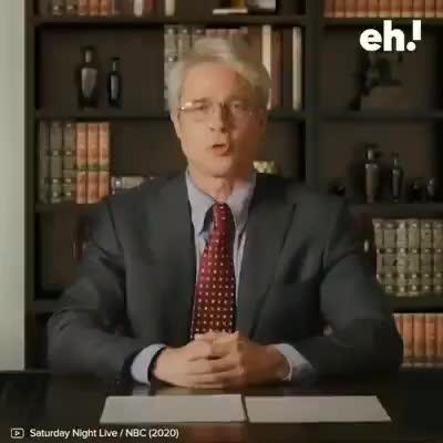 Brad Pitt parodia las decisiones sobre el coronavirus de Donald Trump en Saturday Night Live