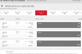 Las aerolíneas programan cuatro vuelos diarios Ibiza-Palma para la fase tres