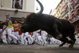 Veloz encierro de los «juampedros», sin heridos por asta de toro
