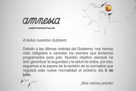 Amnesia cancela sus eventos de julio