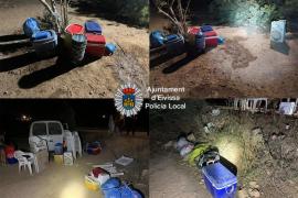 Policía Local de Ibiza desmantela una fiesta ilegal con bebidas alcohólicas, música y luces