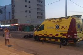 Herida una motorista embestida en Ibiza por la maniobra irregular de un coche