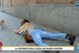 Brutal caída de María Patiño en plena calle y captada por su propio programa