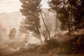Horas infernales en Sant Josep por dos incendios forestales simultáneos