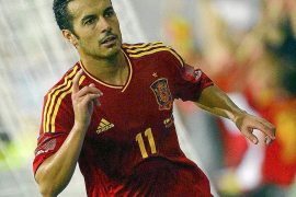 Spain's Pedro Rodriguez celebrates after scoring his second goal against Saudi Arabia during their international friendly soccer