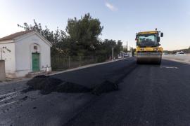 Inician el último asfaltado de la carretera de Santa Eulària previo al final de las obras