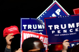Supporters of U.S. president Donald Trump demonstrate outside of the Philadelphia Convention Center, where votes are still being counted two days after the 2020 U.S. presidential election, in Philadelphia