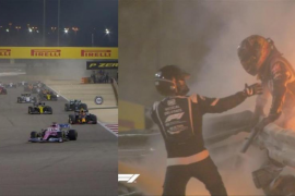 Grosjean sale ileso tras un espectacular accidente en el Gran de Premio de Bahréin de Fórmula 1