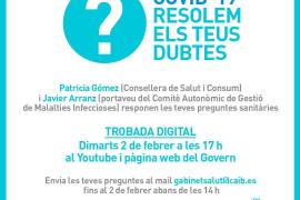El Govern responderá el martes a preguntas sanitarias de la ciudadanía en un encuentro digital en directo