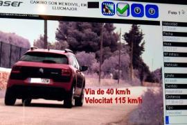'Cazan' en Mallorca a un conductor a 115 km/h en un vía limitada a 40