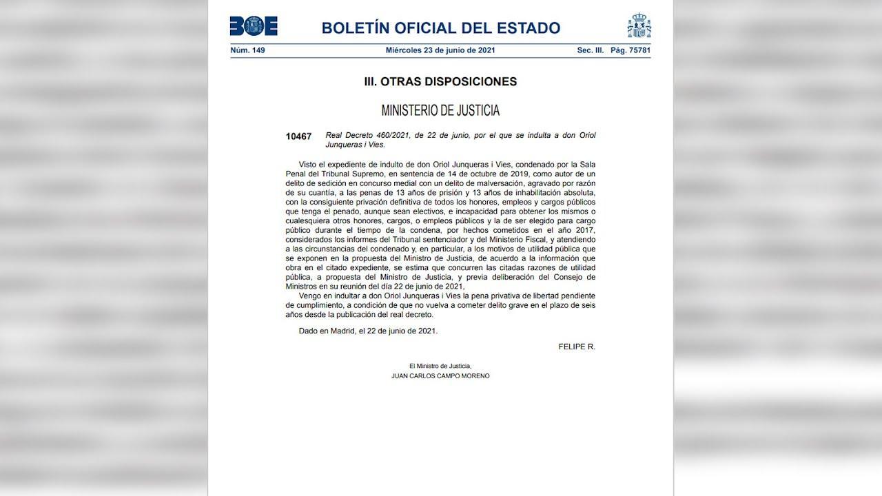 El BOE publica los nueve decretos de indulto a los presos del 1-O